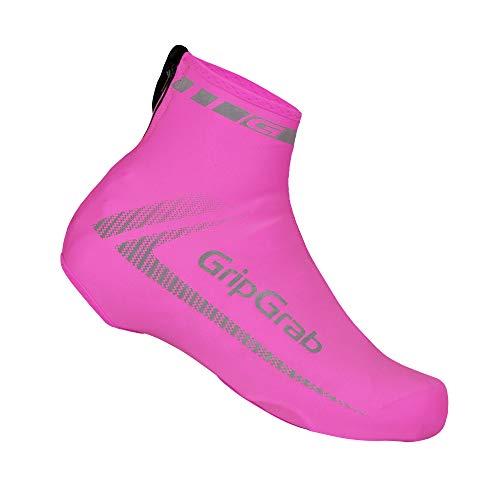 GripGrab Unisex– Erwachsene RaceAero Leichte Lycra Sommer Rennrad Überschuhe Radsport Aero Überzieher/Gamaschen für Zeitfahren und Radrennen Shoe Covers Cycling, Pink Hi-Vis, Onesize (38-46)