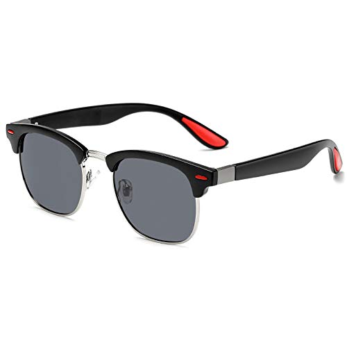 Secuos Gafas De Sol Clásicas Retro Polarizadas para Hombres Y Mujeres, Diseño De Marca, Clavo De Arroz, Medio Marco Cuadrado, Gafas De Sol para Conducir, Uv400 C1