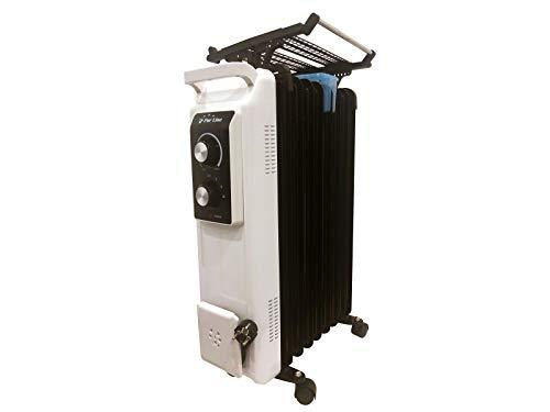 PURLINE Radiador de Aceite de 2000 W de Potencia máxima con termostato y regulador de Potencia, tendedero y Recipiente humidificación