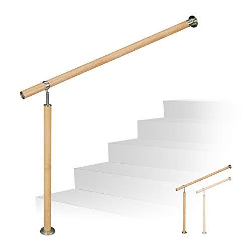 Relaxdays Treppengeländer, für innen & außen, Ø 42 mm, 90 cm hoch, Holzoptik, Aluminium & Edelstahl, 80 cm lang, braun, 800 mm