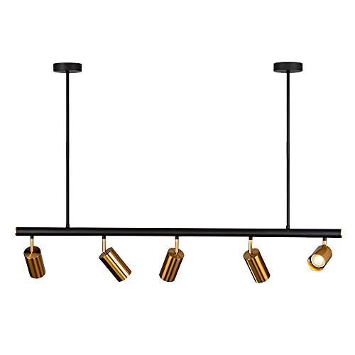 Lámpara de techo E27, moderna, para comedor, lámpara de techo, giratoria, color negro y dorado, foco de hierro para café, hotel, restaurante, decoración, 5 luces, sin bombilla