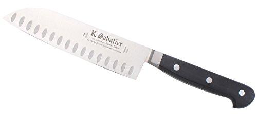 K SABATIER - Cuisine Orientale 17 Cm Alvéolée Gamme Authentique - Acier Inoxydable - Manche Noir - 100% Forge - Entièrement Fabrique en France