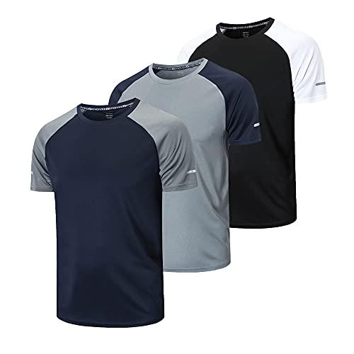 frueo 3 Piezas Camisetas Manga Corta Hombre Camiseta Deporte Hombre de Secado Rápido Ropa Running Camiseta Gimnasio Hombre(20086) Black Gray Nave-XL