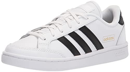 adidas Women's Grand Court Tennis Shoe, White/Black/Gold Metallic, 9.5