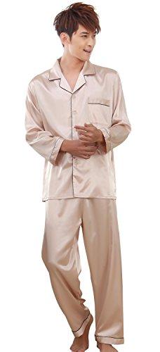 BININBOX® Pyjamas de Soie de Deux pièces en Dentelle à Manches Longues Pyjama de Soie survêtement des Hommes (2XL, Champagne)