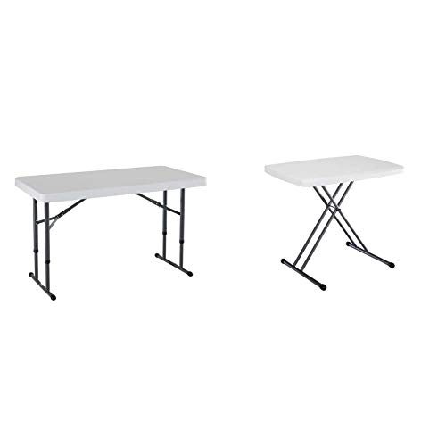 Lifetime 80160 Commercial Height Adjustable Folding Utility Table, 4 Feet, White Granite & 28241 Adjustable Folding Laptop Table TV Tray, 30 Inch, White Granite