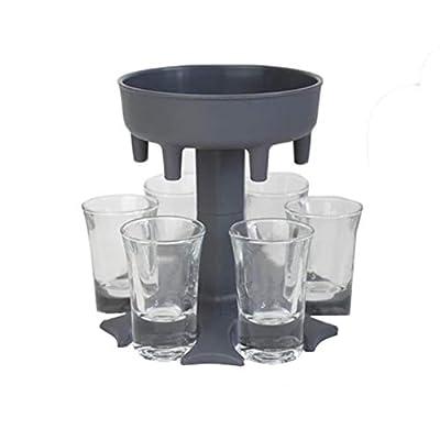 RuiHuaml 6 Shot Glass Dispenser and Holder -Dispenser For Filling Liquids, Shots Dispenser, Multiple 6 Shot Dispenser, Bar Shot Dispenser, Cocktail Dispenser, Dispenser With Slogan (Gray)