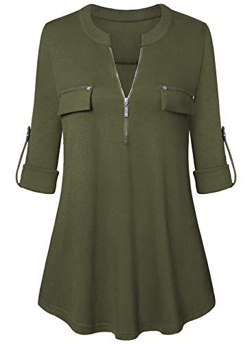 Amrto Damen V-Ausschnitt Bluse 3/4 Ärmel Tunika Reißverschluss Langshirt Langarm Hemd Tops T-Shirt Oberteile, Armygrün Medium