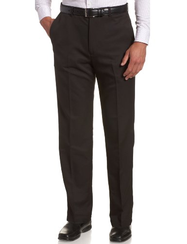 Haggar Men's Cool 18 Hidden Expandable-Waist Plain-Front Pant Black 44x29