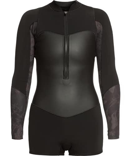 Roxy Womens 1.5 Satin Front Zip Long Sleeve Springsuit - Black | 14