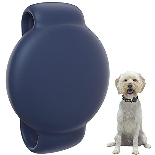 SUPMEGA Hülle für AirTag Hundehalsband, Flexible Silikonhülle mit verstellbarem Band Passend für Hund, Schutzhülle gegen Kratzer kompatibel mit AirTag 2021 – Blau