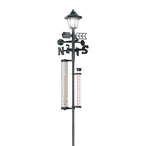 60 '' Tall. All-In-One Solar Weather Station with Solar Powered Light - Measures Snow, Rain, and Wind Speeds