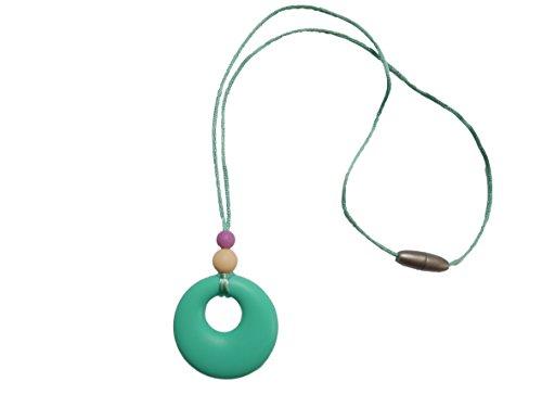 Collar de Dentición de Silicona con Colgante Mordedor para la Lactancia de Su Bebé Cuentas sin BPA, Hecho a Mano por MilkMama, 5 Colores (Turquesa)