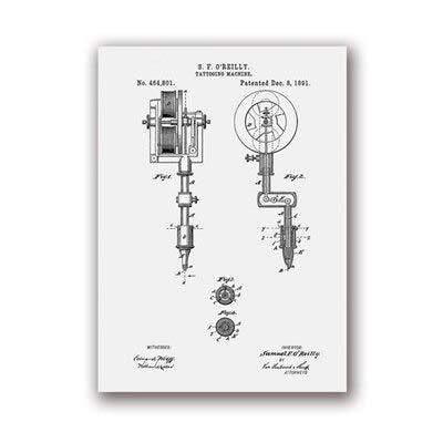 La primera máquina de tatuaje imprime tatuaje sala de estar pared arte lienzo pintura cartel decoración 30x40 cm