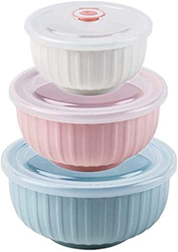 ciotola microonde con Coperchio, Set di Tre Pezzi, Scatola di Pranzo in Ceramica, Set Mista nidificata, utilizzato per l'insalata di stoccaggio Alimentare, Cereali