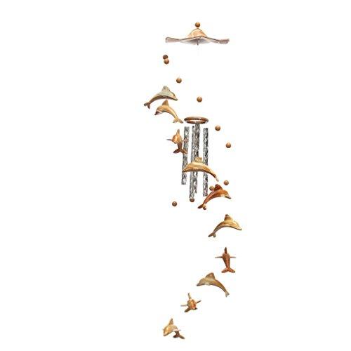 LOVIVER Windspiel 4 Röhren Feng Shui Ornament Garten Dekor - Delphin