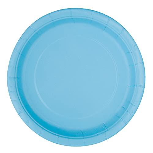 Unique Party- Piatti Ecologici in Carta-23 cm-Colore Celesti-Confezione da 16, Light Blue, 30899EU