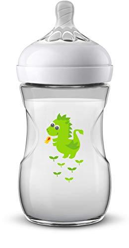 Philips Avent Biberón Natural SCF070/24 - Biberón de 260 ml con tetina con flujo para recién nacidos, diseñada para imitar el tacto del pecho, 0% BPA, 1m+, Dragón