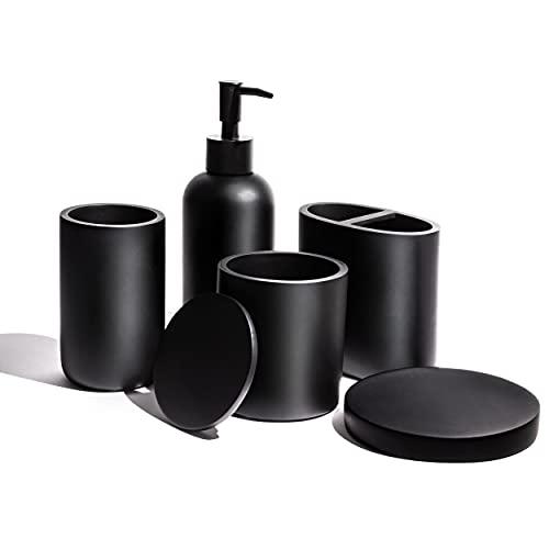 VIRTUNE Premium 5 Pcs Matte Black Bathroom Accessories Set Complete Hotel Quality. 100% Solid Resin Black Bathroom Set. New Apartment Essentials. Accesorios para Baños. Black Toothbrush Holder Set