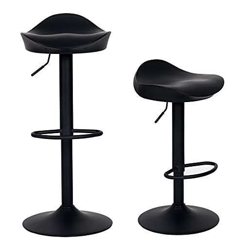 YOUNIKE Bar Stools Modern Swivel Barstools Seat Height Adjustable Swivel Bar Stool with Footrest, Ergonomic Streamlined ABS Kitchen Stool for Bar Counter, Kitchen and Home(Set of 2, Black)