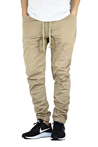AIRNINE Men's Premium Twill Drop Crotch Jogger Pants S-5XL (Khaki, Large)