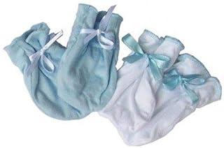 Kit Luvas Algodão Egípcio Azul e Branco - 0 a 3 meses - Zip Toys