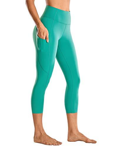 CRZ YOGA Mujer Cintura Alta Leggings Deportivas Fitness Running Pantalones Capri con Bolsillos -48cm
