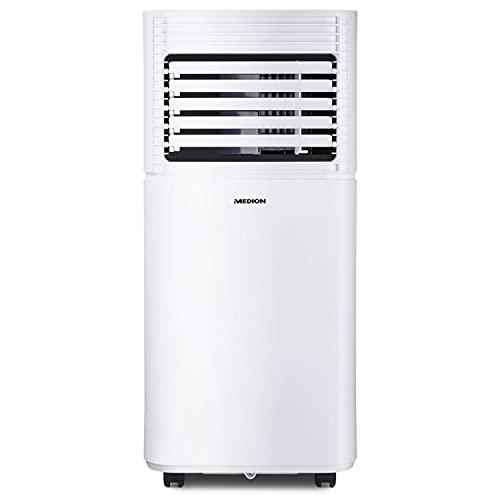 MEDION mobile Klimaanlage (leise, 3in1, Klimagerät, Kühlen Entfeuchten und Ventilieren, Staubfilter, geeignet für bis zu 25qm, 7000BTU, Timer Funktion, Schlafmodus, MD37020)