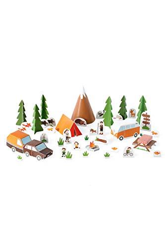 Forum Traiani Bastelbogen Camping - Pukcaka DIY Bastelbögen Papier-Karton für Kindergeburtstag als Geschenkidee, Bastelidee für Jungs und Mädchen