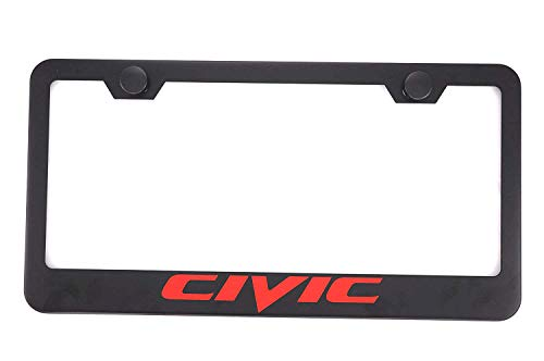 Qptimum Civic Black Racing Stainless Steel License Plate Frame Cover For Honda Civic (1)