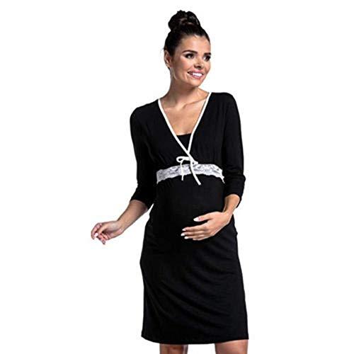 Chemises Maternité Blouses Maternité Casual Five-Pointsleevepregnant Lace Side Allaitement Solid Color Maternity Summer Fashion Nursing Pregnants Dresses-Black_XL