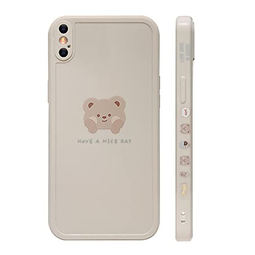 Ownest Compatible with iPhone Xs Max Case Cute Painted Design Brown Bear with Cheeks for Women Girls Fashion Slim Soft Flexible TPU Rubber for iPhone Xs Max-Beige