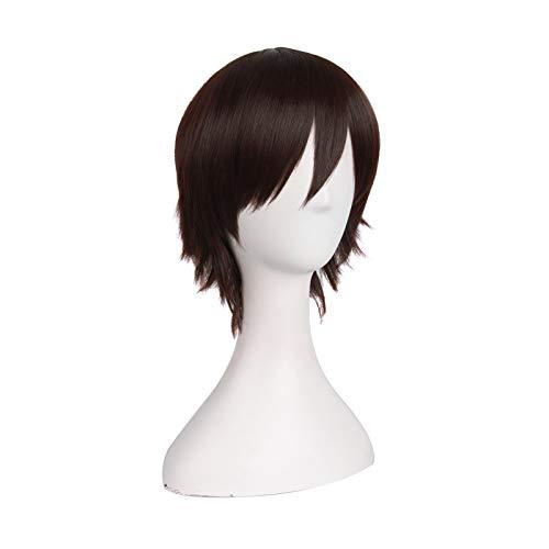 Cosplay Disfraz corto recto peluca marrn oscuro