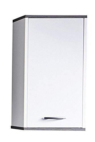 Maisonnerie Armoire de Toilette avec Espace de Rangement, Blanc/Argent fumée, 32 x 60 x 74 cm