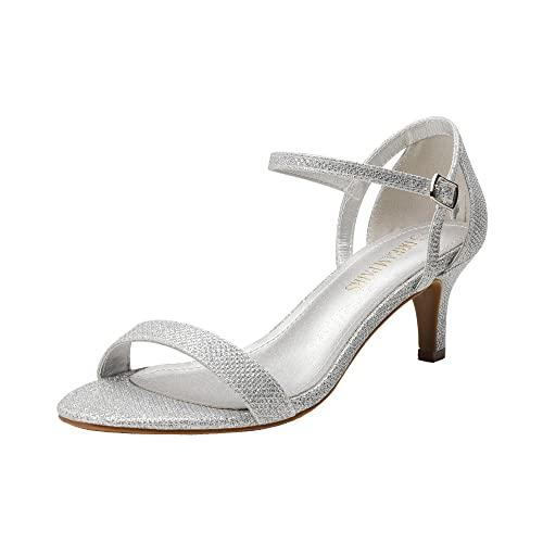 DREAM PAIRS Women's Lexii Silver Glitter Fashion Stilettos Open Toe Pump Heel Sandals Size 9.5 B(M) US