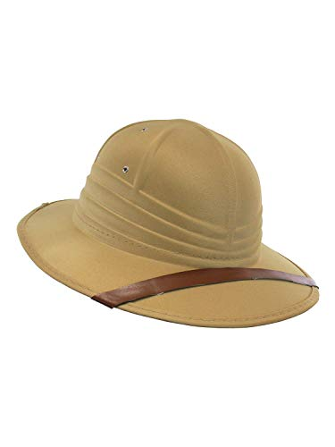 Nicky Bigs Novelties Adult Safari British Pith Helmet Costume Hat - Safari Hats - Zoo Keeper Costume Hat, Khaki, One Size