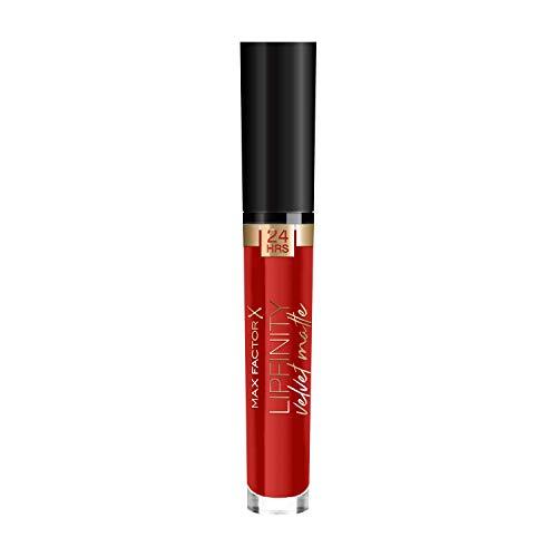 Max Factor Lipfinity Velvet Matte Red Luxury 25 – Liquid Lippenstift mit mattem Finish in kräftigem Rot – Mit pflegendem Kokosöl – Hält bis zu 24 Stunden