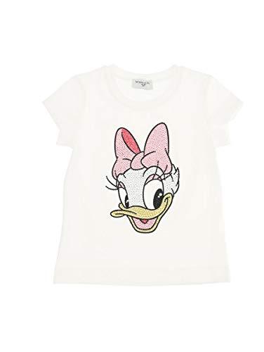 MONNALISA T-Shirt Bianca con Stampa Paperina con Strass