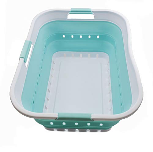 SAMMART - Cesto plegable de plástico para la colada – Contenedor/organizador de almacenamiento plegable – Bañera portátil – Cesto de ahorro de espacio (1, blanco/verde...