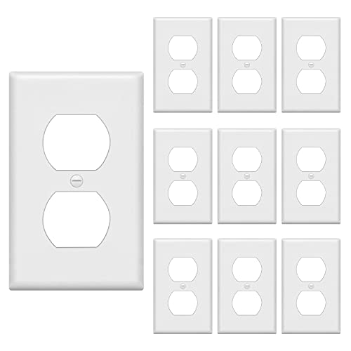 [10 Pack] BESTTEN 1-Gang Duplex Wall Plate, Standard Size, Unbreakable Polycarbonate Outlet Cover and Switch Cover, UL Listed, White