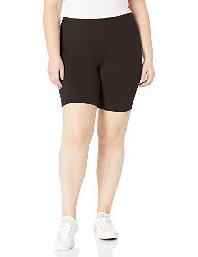 Just My Size Women's Plus-Size Stretch Jersey Bike Short, Black, 1X