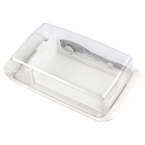 FENGLI Butter Dish with Cover, Plastic Butter Dish with Lid, Cheese Storage Box with Butter Cutter Baking Tools (Color : White)