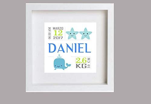 Cuadro de nacimiento para bebé (Daniel). Personalizado.Puedes elegir 1 unidad o el tríptico a juego.