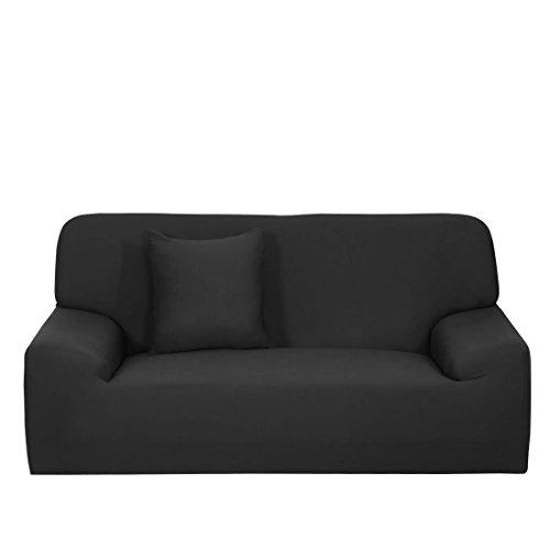 N/D Funda de sofá extensible funda de sofá lavable a máquina, elegante protector de muebles con funda de cojín para sofá de 4 plazas, color negro