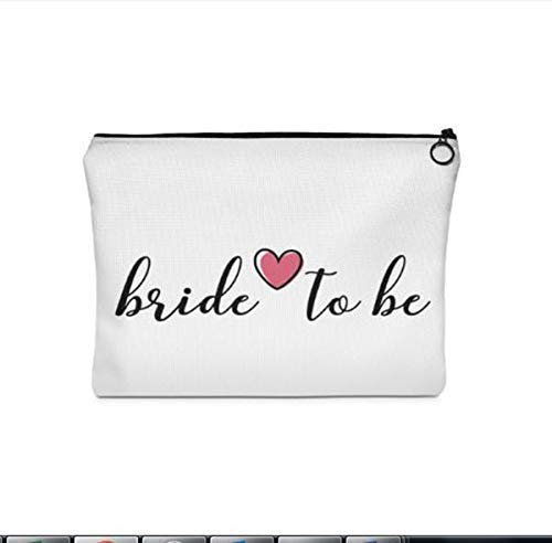 Custom Makeup Bag | Bride to Be | Large Chic Make-Up Organizer Travel Toiletry Accessories Pencil Case Cosmetic Clutch Bridesmaid Gift for Her Hand Drawer