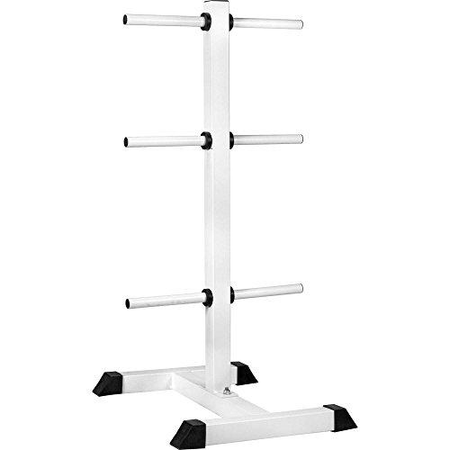 GORILLA SPORTS® Hantelscheibenständer mit 6 Scheibenaufnahmen 30/31 mm Weiß – bis 200 kg belastbar
