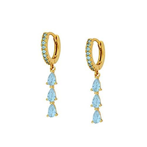 XQAQW Pendientes de Cristal y Cobre de Lujo para Mujeres y niñas Largos Pendientes de zircón Brillantes de Colores -7