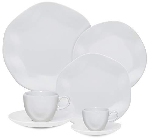 1 Aparelho De Jantar/chá/cafezinho 42 Peças White - Rm42-9504 Oxford Ryo Branco