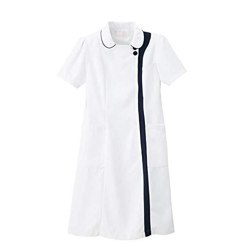 ナースリー マシュマロツイル バイカラーワンピース ナース 看護師用 女性用 白衣 エステ 美容 受付 制服 透けにくい 防シワ 抗菌 防臭 吸汗 速乾 LL ホワイト×ネイビー(ホワイトベース) 9199401A