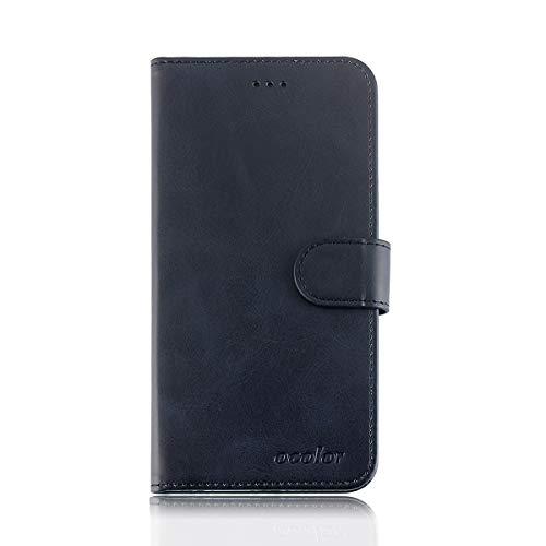 INSOLKIDON Kompatibel mit Blackview P6000 Hülle Case Leder Rückseite Handy Schutz Schale Ganzkörper Schutz Brieftasche Kartenpaket Schutzhülle Flip Ledertasche Mattierte Hülle (Schwarz)